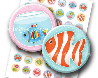 Digital Images Sea of Fish 1 inch circles. Printable sea creatures summer beach party decors. Collage Sheet for bottle caps, magnets.