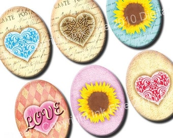 30x40 mm ovals Valentines Garden. Vintage retro images for cabochons, cameos, pendants. Summer sunflowers digital download. 30x40 mm sheet