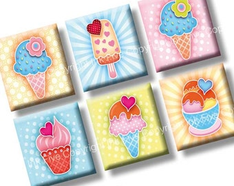 Scrabble tile images  Summer Sweet Ice Cream 0.75x0.83 inch squares. Two 4x6'' Collage Sheets for scrabble size pendants. Digital download.
