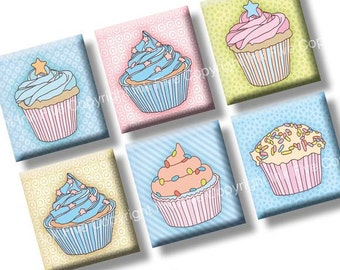 Cupcakes scrabble tile images 0.75x0.83 inch squares. Sweets collage sheet for scrabble pendants. Digital download. Pastel printables