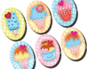 Summer Ice Cream 18 x 25 mm ovals. Sweet collage sheet for cabochons, cameos, pendants. Muffins printable download for jewelry 18x25 mm