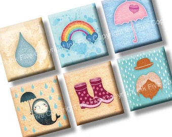 Scrabble tile images Spring Rainy Day 0.75x0.83 inch squares. Two 4x6'' Collage Sheets for rainbow scrabble pendants. Digital download.