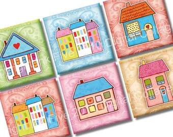 Sweet Little Houses Digital Collage Sheet. Buildings 1x1 inch squares for scrapbooks, magnets, pendants, embellishments. Digital download