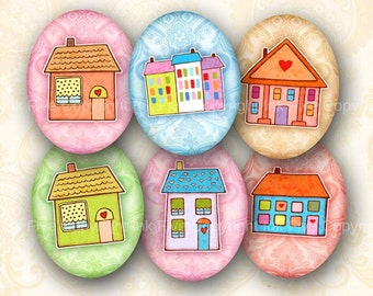 30x40 mm ovals Sweet Little Houses. Home sweet home images for cabochons, cameos, pendants. Printable digital sheet for download