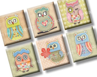 Autumn Owls scrabble tile images 0.75x0.83 inch squares. Two 4x6'' Collage Sheets. Digital whimsical printables. Woodland cartoon birds.