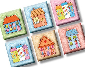 Sweet Little House scrabble tile images 0.75x0.83 inch. Two 4x6'' Collage Sheets for scrabble pendants. Home sweet home digital download