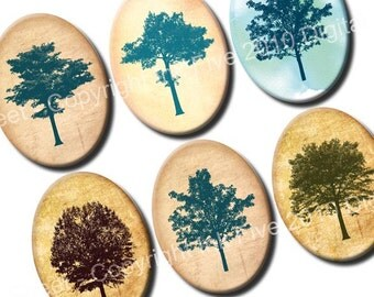 30x40 mm ovals Among the Trees. Woodland Collage sheet for cabochons, cameos, pendants. Printable forest oval images for download