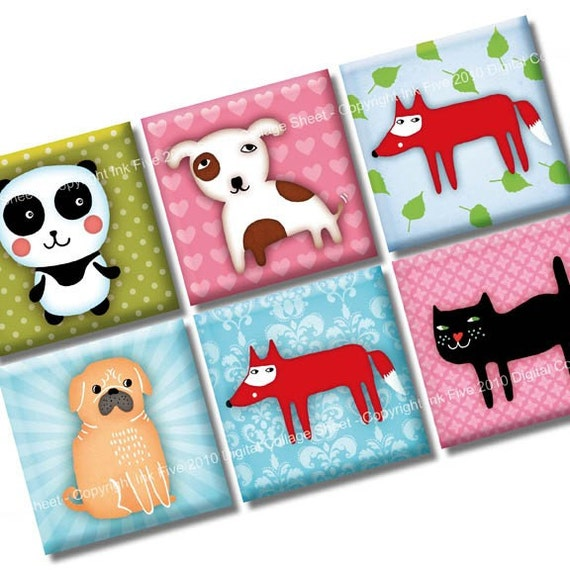 Funny Zoo 1x1 inch squares. Printable Digital Collage Sheet for magnets, pendants, scrapbooks. Digital download  animals: fox dog pug cat