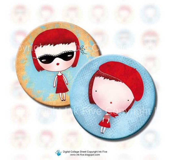 Girls Rule 1 inch circles bottle caps printable images. Digital collage sheet for scrapbook, tile pendants, jewelry. Red blue cream.
