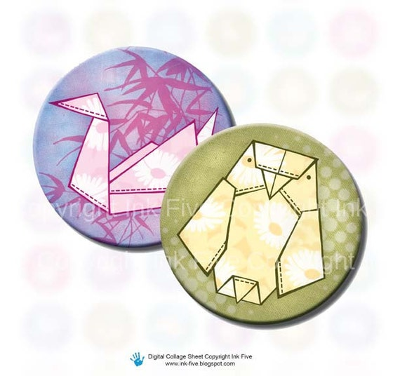 Origami Animals 1 inch circles bottle caps printables. Digital images for scrapbook and jewelry. Oragami blue, green. Digital download