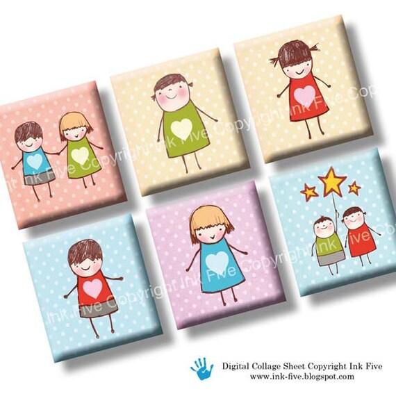 Cute Creche scrabble tile images 0.75x0.83 inch squares. Two 4x6'' Valentines Collage Sheets for scrabble pendants. Digital download