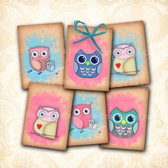 Owls gift tags 2.5 x 3.5 inch Digital Collage Sheet ATC ACEO size printables. Hang tags. Owl party digital download. Gift decor