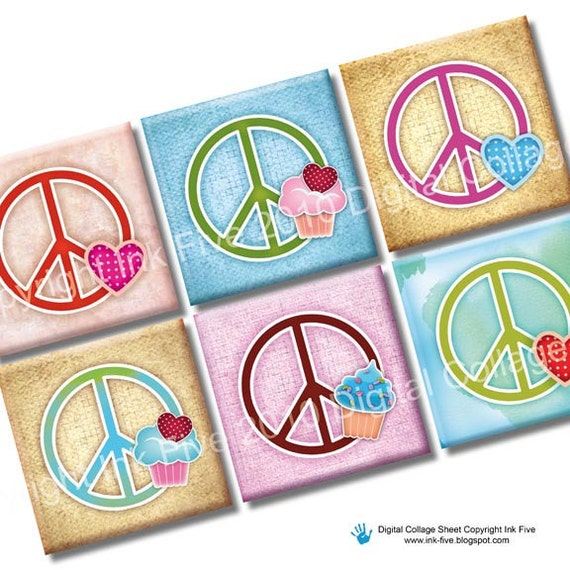 Peace Signs squares printable digital collage sheet. Vintage 1x1 inch download images for magnets, scrapbooks, jewelry. Love hearts cupcakes