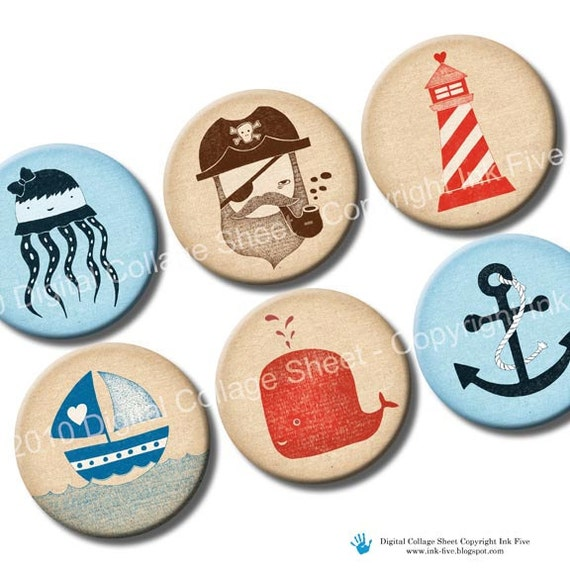 Digital Images Nautical Journey 1 inch & 1.313 circles. Printable sea creatures beach party decors. Collage Sheet for bottle caps, magnets.