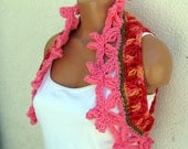 FLORAL FIESTA Vest Sweater Shrug Bolero Handmade Crochet - medium - bright pink, some orange and green with carnation pink flowers - OOAK
