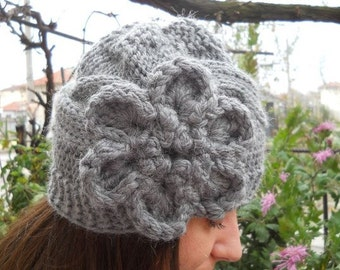Hand Knit Hat - Cable Knit Hat With Flower