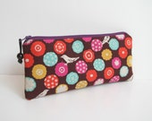 Echino Bon Bon in plum Japanese print padded long zipper pouch