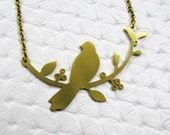 Lonely Dove Bird Pendant and Necklace - Brass