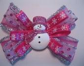 Custom Order - Pink Glitter Snowman Pigtail Bow Set