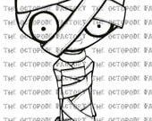 INSTANT DOWNLOAD Halloween Mummy Digital Stamp