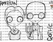 INSTANT DOWNLOAD set of 2 American Gothic Digital Stamps