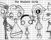 INSTANT DOWNLOAD The Nowhere Girls digital stamp set of 5 images