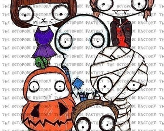 INSTANT DOWNLOAD Halloween Trick or Treat Digital Collage Sheet