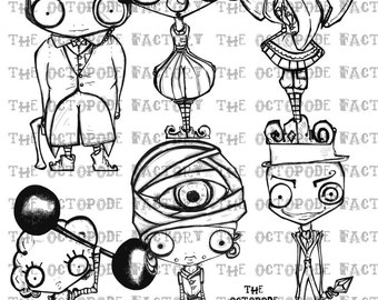 INSTANT DOWNLOAD Whimsical Circus Set of 6 Digital Stamp Images