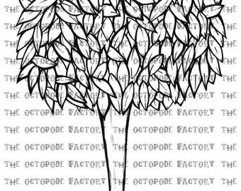 INSTANT DOWNLOAD Whimsical Tree Digital Stamp Image