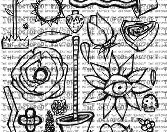 INSTANT DOWNLOAD Full Set of 32 Digital Flowers
