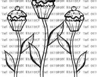 INSTANT DOWNLOAD Whimsical Cake Blossoms Digital Stamp Image