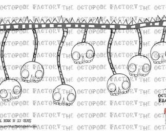 INSTANT DOWNLOAD Hanging skulls digital stamp