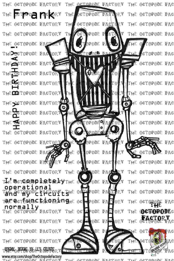 INSTANT DOWNLOAD Robot Frank Digital Stamp Image