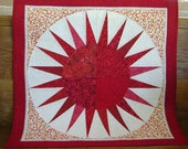 Red Sun Burst Quilted Wall Hanging Wall Art with Red, Cream and Orange Fabrics