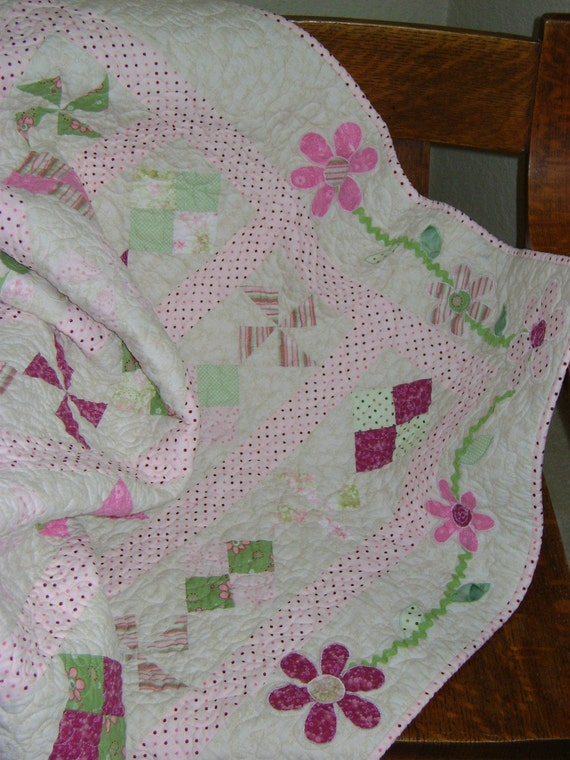 Flower Appliqued Quilt in Shades of Greens and Pinks