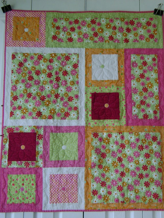 Daisies All Around, Baby, Child, Girl, Lap Quilt in Lime Green, Orange Sherbet, White and Raspberry Pink