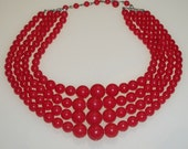 Vintage Beaded Necklace Red Multi Strand 1950s 1960s Mad Men