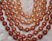 Vintage 1960s Necklace Copper Brown Beaded Multi Strand