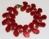 Vintage 1960s Bracelet Red Thermoset Links Mad Men