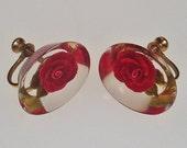 Vintage Lucite Earrings Red Rose Flower 1950s Rockabilly CIJ Sale