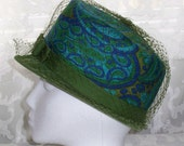 Mod Paisley Hat Vintage 1960s Lampshade Green Velvet Trim