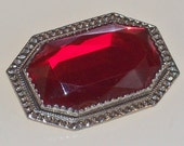 Art Deco Brooch Facetted Red Glass Vintage 1920s 1930s