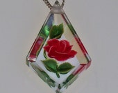 Vintage Lucite Necklace Red Rose Pendant Sterling Silver Chain 1940s 1950s Rockabilly CIJ Sale