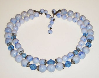 Vintage Beaded Necklace Blue White Beads Lucite Crystals