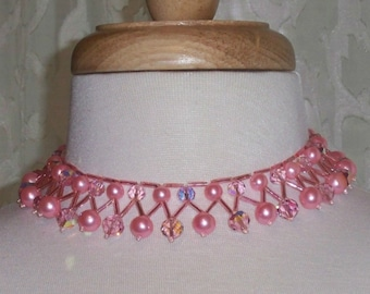 Vintage Bib Necklace Pink Beads Crystals Mad Men Collar