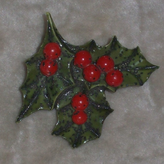 Vintage Christmas Brooch Holly Leaves and Berries 1970s