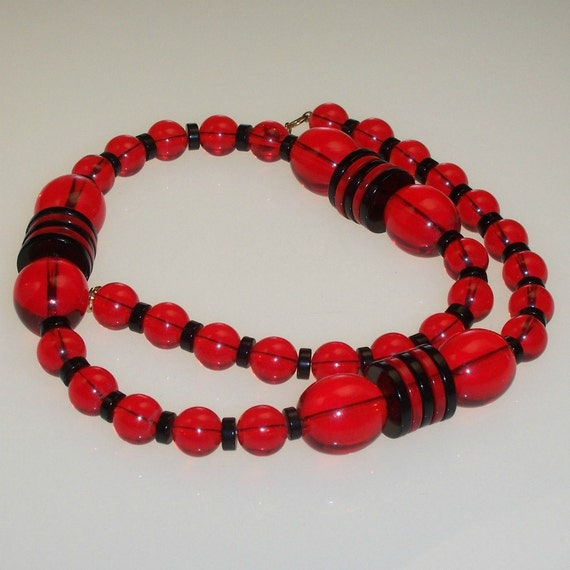 Vintage Chunky Necklace Black and Red Lucite 1960s Mod