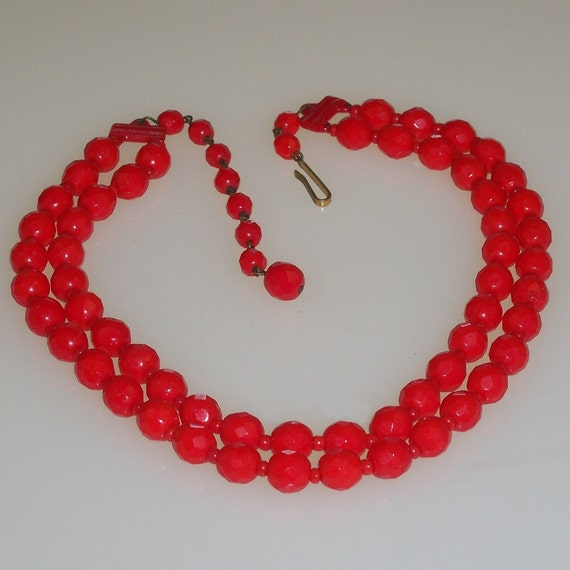 Vintage Red Necklace Glass Beaded Multi Strand Choker 1950s Mid Century Rockabilly West German