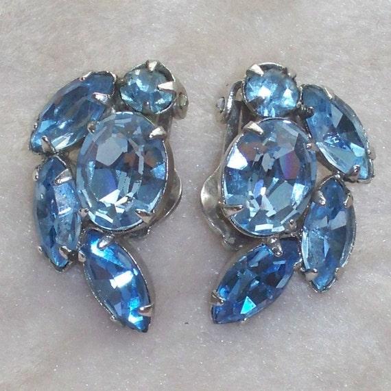 Vintage Blue Rhinestone Earrings 1950s Rockabilly 1960s Mad Men