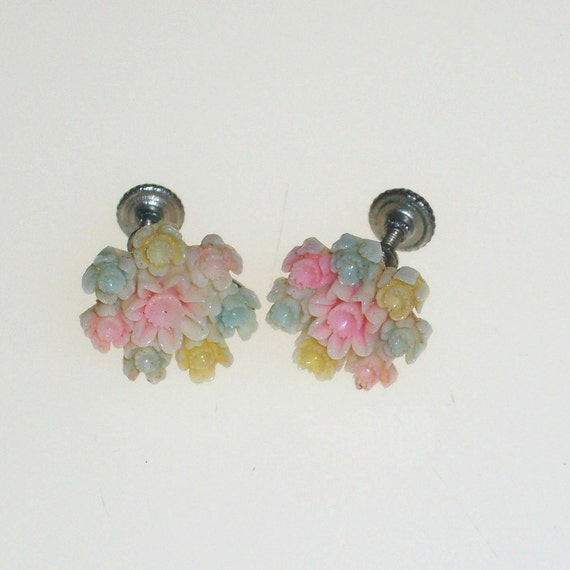 Vintage Celluloid Earrings 1940s Carved Flowers Pastel Pink Blue Yellow